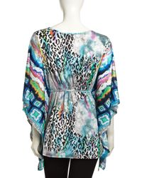Alberto Makali   Blue Printed Lace-up 3/4-sleeve Top   Lyst