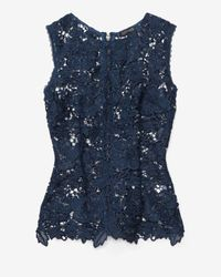 Exclusive For Intermix | Blue Sleeveless Lace Cut Out Top Navy | Lyst