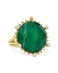 Frederic Sage - Metallic Tivoli Diamond Malachite 18k Gold Ring - Lyst