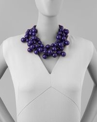 Kenneth Jay Lane - Purple Beaded Cluster Necklace Blue - Lyst