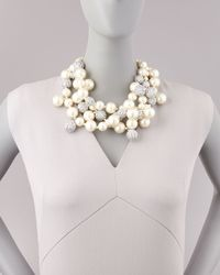 Kenneth Jay Lane - White Pave Crystal Pearly Beaded Cluster Necklace Blue - Lyst