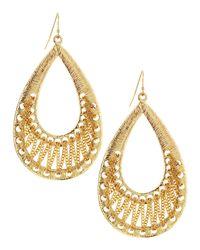 R.j. Graziano - Metallic Golden Textured Teardrop Earrings - Lyst