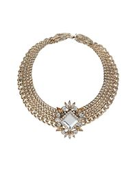 TOPSHOP - Metallic Premium Four Row Stone Collar - Lyst