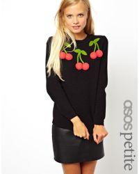 Just Cavalli   Black Asos Petite Sweater with 3d Cherries   Lyst