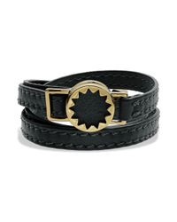 House of Harlow 1960 | Metallic Gold Tone Sunburst and Black Leather Wrap Bracelet | Lyst