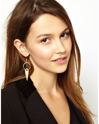 ASOS - Metallic Ottoman Hands Small One Stone Pendant Earrings - Lyst