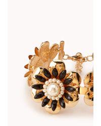 Forever 21 - Metallic Luxe Floral Bracelet - Lyst