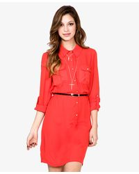 Forever 21   Pink Chiffon Dress W Skinny Belt   Lyst