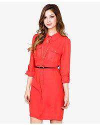 Forever 21 - Pink Chiffon Dress W Skinny Belt - Lyst