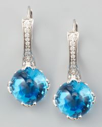 Frederic Sage - Jelly Bean Round Blue Topaz Diamond Earrings - Lyst