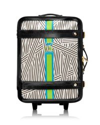 Henri Bendel | White Disturbed Stripe Monogram Wheelie | Lyst