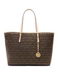 1698aaa89ce3 Lyst - Michael Kors Michael Medium Jet Set Studded Travel Tote in Brown