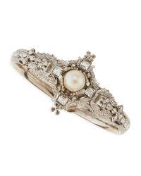 Alexander McQueen - Metallic Pearl Skull Cross Bracelet - Lyst