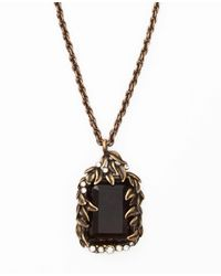 Ann Taylor | Metallic Botanical Stone Pendant Necklace | Lyst