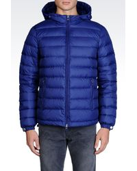 Armani Jeans | Blue Hooded Down Jacket In Technical Fabric for Men | Lyst