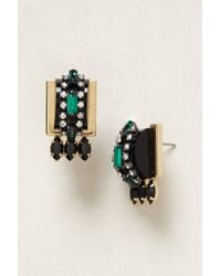 Elizabeth Cole | Multicolor Ear Emerald Deco Drops | Lyst