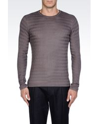Emporio Armani | Gray Crew Neck Sweater in Viscose and Silk for Men | Lyst