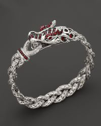 John Hardy | Metallic Batu Naga Sterling Silver, Ruby, And Red Sapphire Dragon Bracelet | Lyst