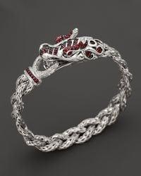 John Hardy - Metallic Batu Naga Sterling Silver, Ruby, And Red Sapphire Dragon Bracelet - Lyst