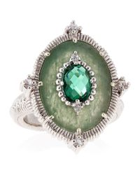 Judith Ripka - Metallic Oasis Green Quartz and White Sapphire Ring - Lyst