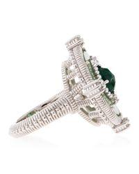 Judith Ripka | Metallic Oasis Green Quartz and White Sapphire Ring | Lyst