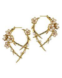 Shaun Leane - Metallic Cherry Blossom Hoop Earring - Lyst