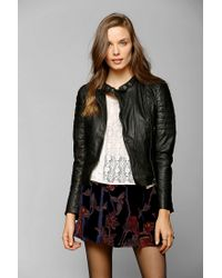 Urban Outfitters - Black Muubaa Abila Quilted Leather Moto Jacket - Lyst