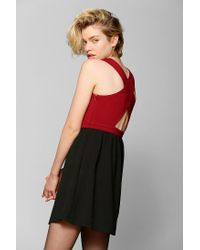 Urban Outfitters - Red Sparkle Fade Deep V Fit Flare Dress - Lyst