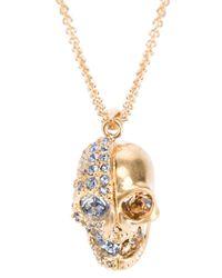 Alexander McQueen | Metallic Crystal Embellished Skull Necklace | Lyst