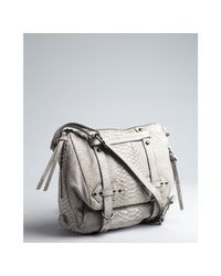 Kooba - Gray Grey Croc Embossed Leather Buckle Detailed Erin Shoulder Bag - Lyst
