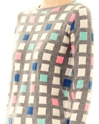 Chinti & Parker - Gray Grid Cashmere Sweater - Lyst