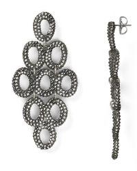 Roni Blanshay | Black Open Circle Chandelier Drop Earrings | Lyst