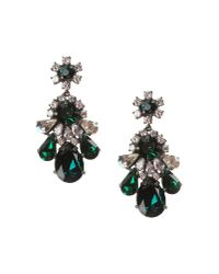 Shourouk - Green Teardrop Crystal Earrings - Lyst