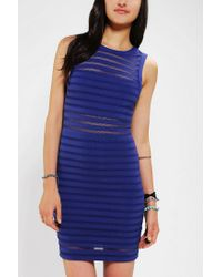 Urban Outfitters | Blue Silence Noise Illusion Stripe Bodycon Dress | Lyst