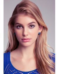 Bebe - Metallic Crystal Pyramid Stud Earrings - Lyst