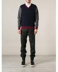 Frankie Morello   Blue Vneck Sweater for Men   Lyst