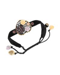 Betsey Johnson - Black Antique Gold Tone Flower Heart Adjustable Friendship Bracelet - Lyst