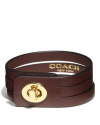 COACH - Brown Bunched Leather Small Turnlock Bracelet - Lyst