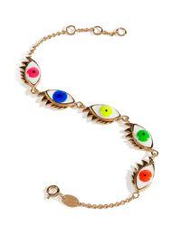Delfina Delettrez | Metallic Gold Plated Silver Enamel 5 Eyes Bracelet | Lyst
