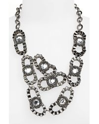 Panacea | Metallic Crystal Bib Necklace | Lyst