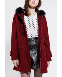 Urban Outfitters - Red Pins and Needles Faux Furtrim Duffle Coat - Lyst