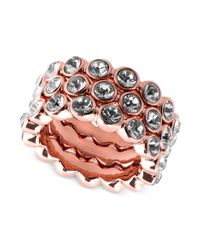 Givenchy | Pink Gold-Plated Crystal Stack Ring | Lyst