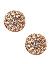 Givenchy - Metallic Rose Gold Plated Crystal Button Stud Earrings - Lyst