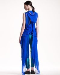 Haider Ackermann - Blue Suedetrim Hooded Coat - Lyst