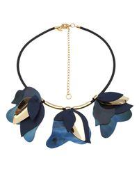 Marni - Blue Layered Leaf Necklace - Lyst