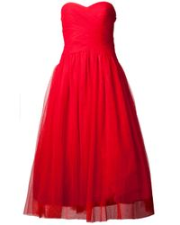 ML Monique Lhuillier - Red Sweetheart Tulle Gown - Lyst