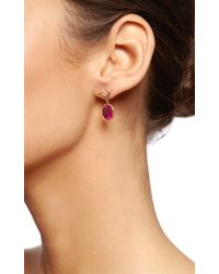 Dean Harris - Purple Handmade Red Tourmaline Oval Drop Earring with 18k Yellow Vine and White Diamond Vine Ear Wires - Lyst