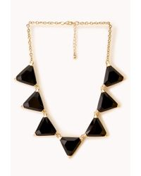 Forever 21 | Metallic Faceted Faux Gemstone Necklace | Lyst