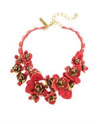 Oscar de la Renta | Red Enamel Painted Flower Necklace | Lyst