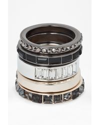 French Connection - Multicolor Mixed Geo Stone Metal Ring Stack - Lyst